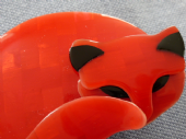 Gomina the Cat by Lea Stein of Paris in a Tomato or Orange Red (SOLD) (1)